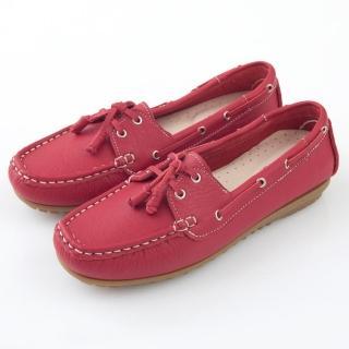 【GMS】MIT情侶鞋系列-水洗牛皮帆船鞋(亮麗紅)  GMS