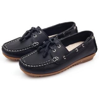 【GMS】MIT情侶鞋系列-水洗牛皮帆船鞋(黑色)   GMS