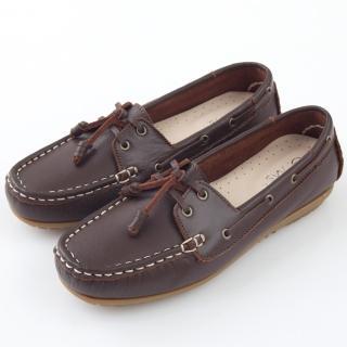 【GMS】MIT情侶鞋系列-水洗牛皮帆船鞋(濃咖啡)  GMS