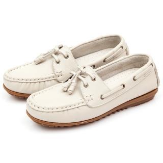 【GMS】MIT情侶鞋系列-水洗牛皮帆船鞋(甜米白)   GMS