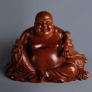 【MU LIFE 荒木雕塑藝品】8寸 如意布袋佛 A款(紅豆杉)   MU LIFE 荒木雕塑藝品