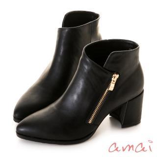 【amai】造型切口金屬拉鏈修飾尖頭短靴(黑)   amai