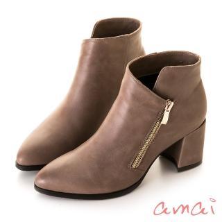 【amai】造型切口金屬拉鏈修飾尖頭短靴(藕)   amai