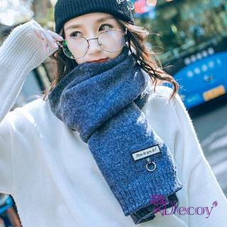 【Decoy】英文金圈*中性情侶保暖圍巾/深藍   Decoy