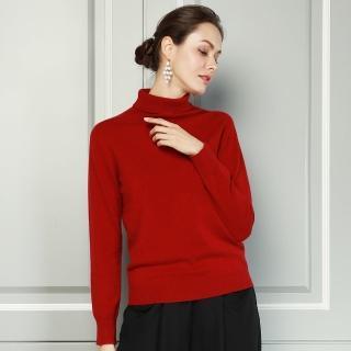 【矜蘭妃】天衣無縫一體成型喀什米爾羊絨衫(紅/藍可選)  矜蘭妃