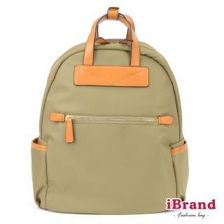 【i Brand】簡約設計撞色皮革手提後背包(淺綠)   i Brand