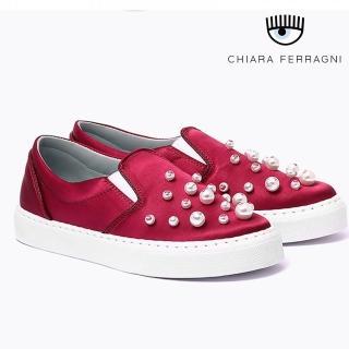 【Chiara Ferragni】珍珠緞面厚底鞋-紅(樂福鞋)   Chiara Ferragni