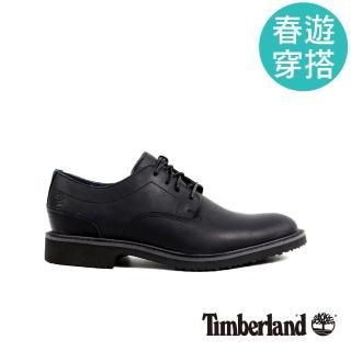【Timberland】男款黑色粒面皮革淺口鞋   Timberland