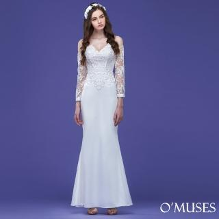 【OMUSES】V領蕾絲袖魚尾長洋裝19-171016(S-2L)  OMUSES