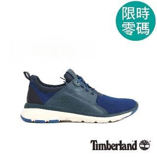 【Timberland】男款藍色布面搭皮革淺口鞋   Timberland
