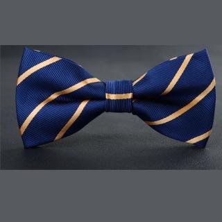 【拉福】精緻領結結婚領結糾糾(兒童藍黃斜紋)  拉福