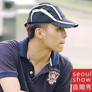 【Seoul Show首爾秀】條紋透氣網超輕量運動高爾夫GOLF戶外棒球帽 黑白灰(防曬遮陽)  Seoul Show首爾秀