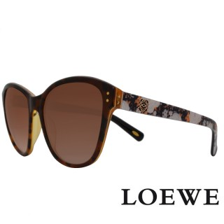 【LOEWE 羅威】西班牙皇室品牌大理石面奢華花片太陽眼鏡(黃 SLW805-0961 12HR)   LOEWE 羅威