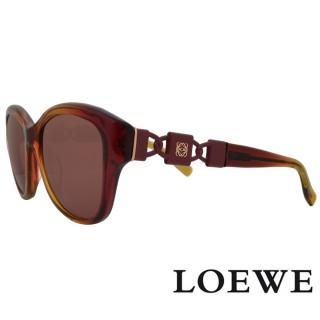 【LOEWE 羅威】西班牙皇室品牌羅威手工鑄模鎖扣太陽眼鏡(紅漸層 SLW847-07NH 12HR)  LOEWE 羅威