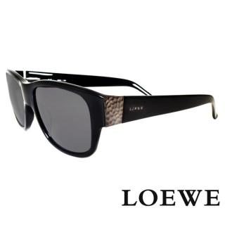 【LOEWE 羅威】西班牙皇室品牌簡約素面立體雕刻太陽眼鏡(黑 SLW693-0700 12HR)  LOEWE 羅威