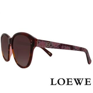 【LOEWE 羅威】西班牙皇室品牌大理石面奢華花片太陽眼鏡(紅 SLW805-09QA 12HR)  LOEWE 羅威
