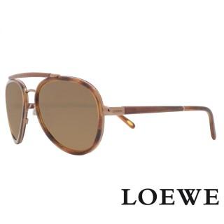 【LOEWE 羅威】西班牙皇室品牌復古琥珀皮革質感太陽眼鏡(琥珀黃 SLW431-R80X 12HR)  LOEWE 羅威