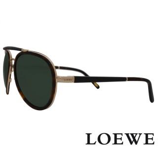 【LOEWE 羅威】西班牙皇室品牌復古琥珀皮革質感太陽眼鏡(琥珀藍 SLW431-300P 12HR)  LOEWE 羅威