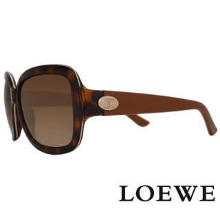 【LOEWE 羅威】西班牙皇室品牌皮革腳金屬LOGO太陽眼鏡(咖啡 SLW774-09AJ 12HR)   LOEWE 羅威