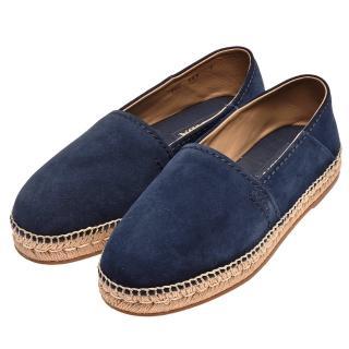 【PRADA 普拉達】品牌字母烙印麂皮厚底鉛筆鞋(海軍藍DNC648-BLUE-7)   PRADA 普拉達