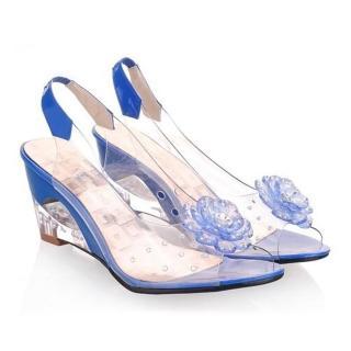 【Sp house】高貴OL水鑽花朵玻璃涼鞋(天空藍全尺碼)   Sp house