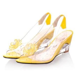 【Sp house】高貴OL水鑽花朵玻璃涼鞋(亮麗黃全尺碼)   Sp house