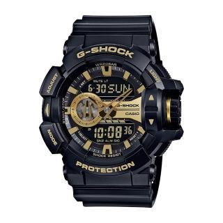 【CASIO 卡西歐】G-SHOCK系列 亮彩光澤時尚雙顯電子錶(黑/金 GA-400GB-1A9)   CASIO 卡西歐