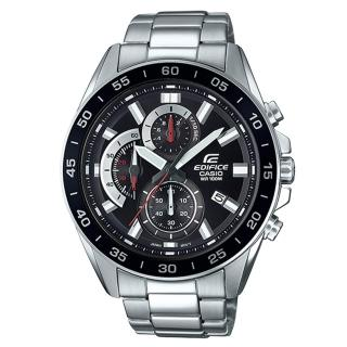 【CASIO 卡西歐】三眼計時賽車男錶 不鏽鋼錶帶 黑X銀 防水100米 日期顯示(EFV-550D-1A)  CASIO 卡西歐
