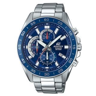 【CASIO 卡西歐】三眼計時賽車男錶 不鏽鋼錶帶 防水100米 日期顯示(EFV-550D-2A)  CASIO 卡西歐