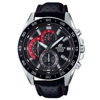 【CASIO 卡西歐】三眼計時賽車男錶 皮革錶帶 深灰X紅色錶面 防水100米 日期顯示(EFV-550L-1A)  CASIO 卡西歐