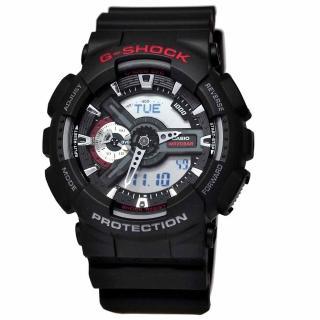 【CASIO 卡西歐】G-SHOCK系列 極簡機械感雙顯電子錶(黑/紅 GA-110-1A)  CASIO 卡西歐