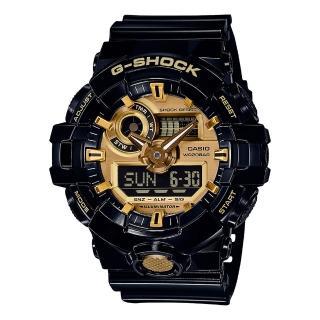 【CASIO 卡西歐】G-Shock 無限強悍雙顯電子錶(黑/金 GA-710GB-1A)   CASIO 卡西歐