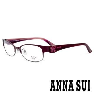 【ANNA SUI 安娜蘇】香氛花園簡約上眉框設計光學眼鏡(紫紅/紅 -AS180M777)   ANNA SUI 安娜蘇