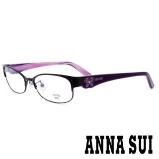 【ANNA SUI 安娜蘇】香氛花園簡約上眉框設計光學眼鏡(啞光黑/紫 -AS180M007)  ANNA SUI 安娜蘇