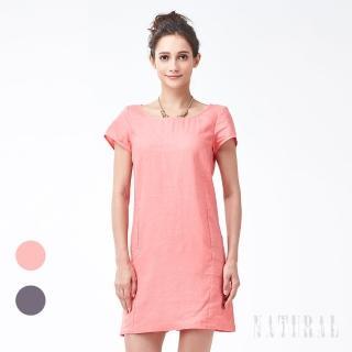 【矜蘭妃】100%法國亞麻歐風修身洋裝(2色可選)  矜蘭妃