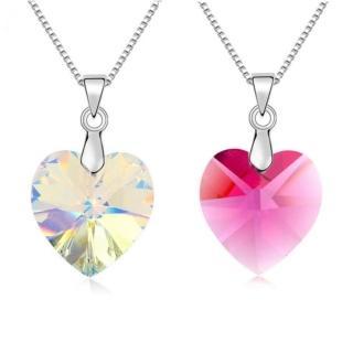 【I-Shine】正白K-卿卿我心-奧地利水晶元素鑲崁愛心形狀晶鑽項鍊(2色)  I-Shine