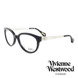【Vivienne Westwood】英國薇薇安魏斯伍德皇家貴氣精雕系列款光學眼鏡(黑/銀 VW320M01)   Vivienne Westwood