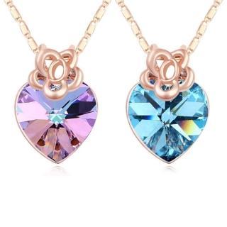 【I-Shine】正白K-愛回溫-奧地利水晶元素鑲崁愛心形狀晶鑽項鍊(2色)  I-Shine