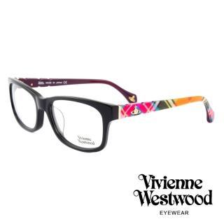 【Vivienne Westwood】英國薇薇安魏斯伍德經典英格蘭格紋設計款光學眼鏡(黑/紫 VW323M01)  Vivienne Westwood
