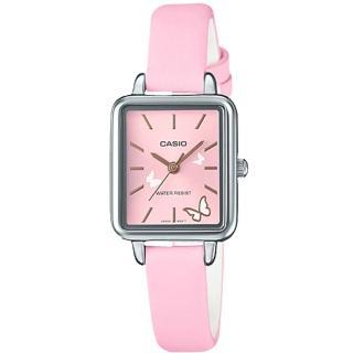 【CASIO 卡西歐】氣質指針女錶 皮革錶 防水 氣質蝴蝶圖樣(LTP-E147L-4A)  CASIO 卡西歐