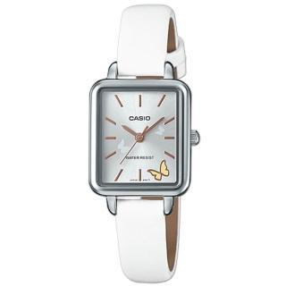 【CASIO 卡西歐】氣質指針女錶 皮革錶 防水 氣質蝴蝶圖樣(LTP-E147L-7A)  CASIO 卡西歐