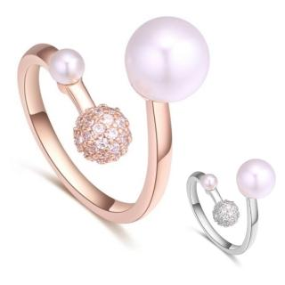【I-Shine】正白K-珍心珍意-珍珠圓球晶鑽精鍍18K玫瑰金開口戒指(2色)  I-Shine