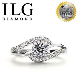 【ILG】八心八箭戒指 - 流轉年華 RI136 主鑽約50分 流線設計款(白K金色)   ILG