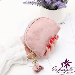 【iSPurple】玫瑰掛飾 磨砂皮革零錢包 粉  iSPurple