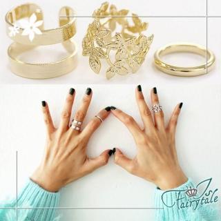 【伊飾童話】鏤空落葉 個性金屬戒指三件組 2色可選   伊飾童話