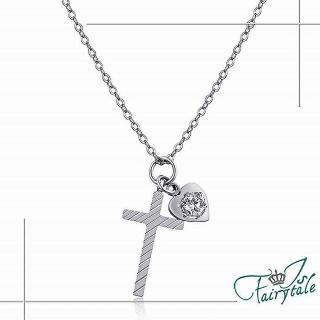 【伊飾童話】斜紋十字架 鑽墜鈦鋼項鍊 銀   伊飾童話