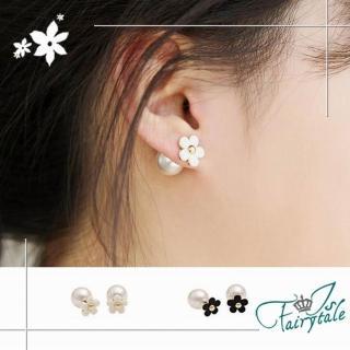 【伊飾童話】優雅小花 兩搭雙面珍珠針式耳環 2色   伊飾童話