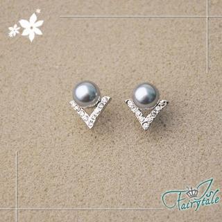 【伊飾童話】字母鑽型 銀灰珍珠水鑽耳環   伊飾童話