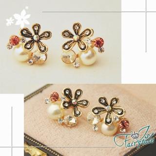 【伊飾童話】珍珠黑花 迷你水鑽針式耳環  伊飾童話