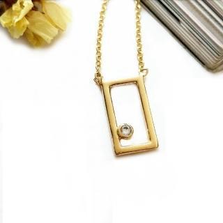 【DoriAN】經典夢想方塊鑲鑽鎖骨項鍊(925純銀 鍍18K金 鑲CZ鑽)  DoriAN